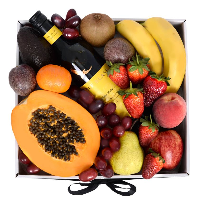 Deluxe Fruit Box with Red Wine